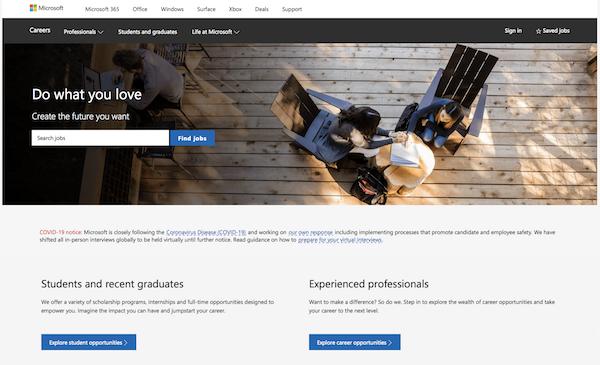 Microsoft career site screenshot 03102020