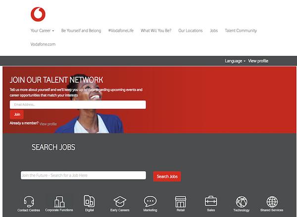 Vodafone career site screenshot 03102020